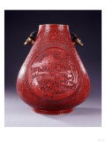A Large Carved Red Lacquer Pear-Shaped Vase, 18th/19th Century Art