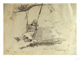 Girl on a Swing, 1879 Giclée-tryk af Alfred Thompson Bricher