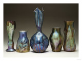 A Collection of Iridescent Glass Vases by Loetz Giclee Print by Adler &amp; Sullivan 