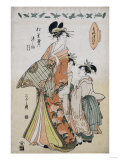 A Full Length Portrait of the Courtesan Somenosuke Accompanied by Two Kamuro Posters by  Chokosai Eisho