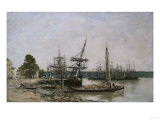 Bordeaux, Boat Moorings on the Garonne, 1876 Print by Eugène Boudin
