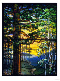 Landscape Window by Tiffany Studios Depicting a Meandering Stream Shaded by Towering Fir Trees Giclee Print by  Adler & Sullivan