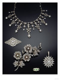 A Selection of Antique Diamond Jewellery Dating from Circa 1890 Giclee Print