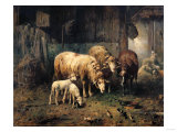 Sheep in a Barn Giclee Print by Jean-Baptiste-Camille Corot