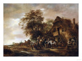 Riders Refreshing Themselves Outside an Inn, with Other Figures and a Horse and Cart Giclee Print by Hendrik Avercamp