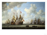 A Battle at Sea Giclee Print by Vincente Carducho