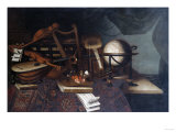 Musical Instruments with a Globe, and a Palette on a Table Giclee Print by Cristofano Allori