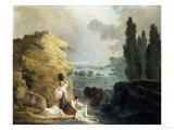 Washerwoman by a Cascade Print by Herri Met De Bles