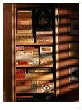 A Hand Made Cedar Armoire Containing Boxed Cigars Giclée-tryk