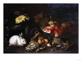 Vegetables and Fruit with Rabbits in a Landscape Poster by George Wesley Bellows