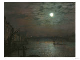 Southwark Bridge by Moonlight, 1882 Giclee Print by Filipo Or Frederico Bartolini