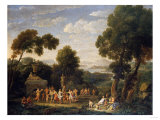 A Wooded Italianate Landscape with Nymphs Dancing, 1728 Giclee Print by Arnold Boonen