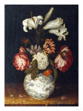 Lilies, Roses, a Marigold, and Other Flowers in a Blue and White Wan-Li Vase on a Ledge, 1656 Giclee Print by Joseph Bail
