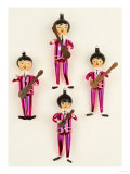 A Rare Set of Four Blown Glass Christmas Tree Decorations Modelled as the Beatles Prints