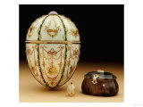The Kelch Bonbonniere Egg Pictured with Its Surprises, Faberge, 1899-1903 Giclee Print by Mikhail Perkhin