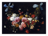 /Na Swag of Roses, Tulips, Dahlias and Other Flowers Posters by George Wesley Bellows