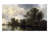 A Wooded River Landscape, with Peasants in a Rowing Boat by a Cottage, 1633 Prints by Sir William Beechey