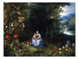 The Madonna and Child in a Wooded River Landscape Premium Giclee Print by Jan Brueghel the Elder