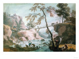 A River Landscape with Anglers by a Broken Weir Below a Footbridge Prints by Vincente Carducho