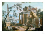 A Classical Capriccio with a Porticoed Temple and an Obelisk Giclee Print by Vincente Carducho