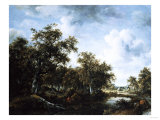 A Wooded Landscape with an Angler and Other Figures by a Pond, 1664 Giclee Print by Arnold Boonen