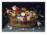 Roses and Other Flowers in a Wicker Basket on a Table Print by George Wesley Bellows