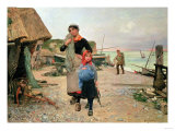 Fisherfolk Returning with Their Nets, 1882 Giclee Print by Carl Frederic Aagaard
