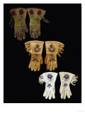 A Pair of Nez Perce Beaded Hide Gauntlet and Two Pairs of Plains Beaded Hide Gauntlets Posters