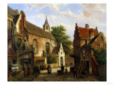 A Street Scene in Delft Giclee Print by Joseph Bail