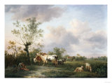 A Shepherd, Cattle and Sheep Near a Town, 1806 Giclee Print by Arnold Boonen