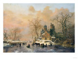 A Dutch Canal Scene, 1859 Giclee Print by Joseph Bail