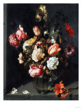 Tulips, Peonies, a Lily, Iris and Other Flowers in a Glass Vase, in a Niche, 1619 Giclee Print by Jean-Baptiste-Camille Corot