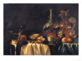 Grapes, Nectarines, Berries and Oysters on a Table Reproduction procédé giclée par George Wesley Bellows