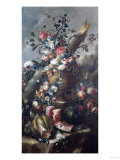 Flowers in Sculpted Urn, with Melons and Parrot Giclee Print by Giovanni Battista Benvenuti