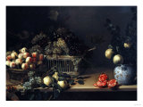 Grapes and Peaches in Wicker Baskets, with Apples, Pears, and Pomegranates on a Table Giclee Print by Cristofano Allori