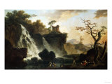 Fishermen by a Waterfall in a Classical Landscape Prints by Herri Met De Bles