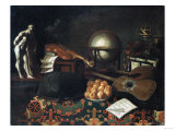 Musical Instruments with a Globe and Statue on a Table Covered with a Rug Prints by Giovanni Battista Benvenuti