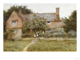 A Surrey Cottage with a Mother and Her Children Art by Helen Allingham