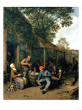 Peasants Smoking and Feasting Outside a Tavern, 1676 Giclée-tryk af Cristofano Allori