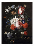 A Rose, a Tulip, Morning Glory, and Other Flowers in a Glass Vase on a Stone Ledge, 1671 Posters by George Wesley Bellows