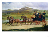 Coach and Four on the Open Road, 1876 Premium Giclee Print by Joseph Bail
