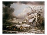A Winter Landscape Giclée-tryk af Cristofano Allori