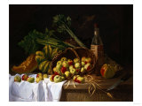 A Still Life with a Bottle of Wine, Rhubarb and an Upturned Basket of Apples on a Table Prints by Sir William Beechey