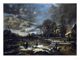 A Winter River Landscape with Figures Playing Golf and Skating Giclee Print by Jan Brueghel the Elder