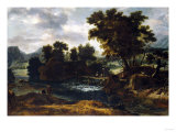 A Wooded River Landscape with a Footbridge Prints by Herri Met De Bles