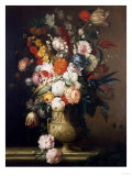 Roses, Tulips, Carnations and Other Flowers, in an Urn on a Ledge Print by Sir William Beechey