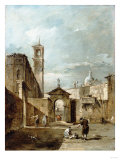 A Capriccio of a Venetian Campo with a Church Beyond Posters by Giovanni Battista Benvenuti