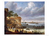 Peasants on the Beach with a Ferry Giclee Print by Vincente Carducho
