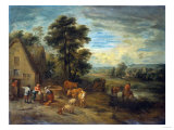 Landscape with Peasants and Cattle by a Cottage Poster by Vincente Carducho