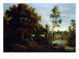 A Wooded Landscape, with Piping Shepherds, and a Chateau on a Lake Print by Giovanni Battista Benvenuti